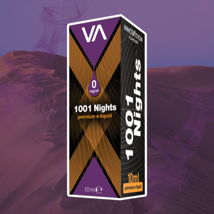INNOVATION 1001 Nights e-juice has an Arabic tobacco flavour with a coffee aftertaste.