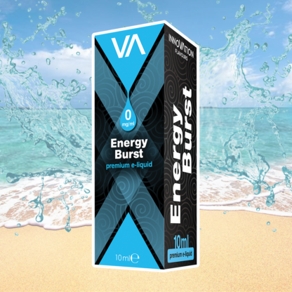 INNOVATION Energy Burst vape juice has a Red Bull taste, but with a distinct aftertaste of tropical fruit mix.